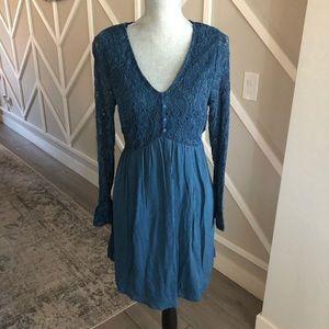 Francesca's Dark Teal L/S Lace Top Mini Dress